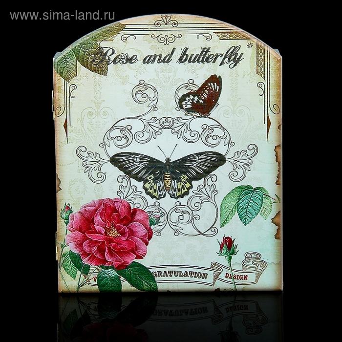 """Ключница """"Роза и бабочки"""""""