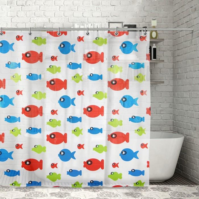 """Штора для ванной 180х180 см """"Рыбка-шар"""", EVA"""