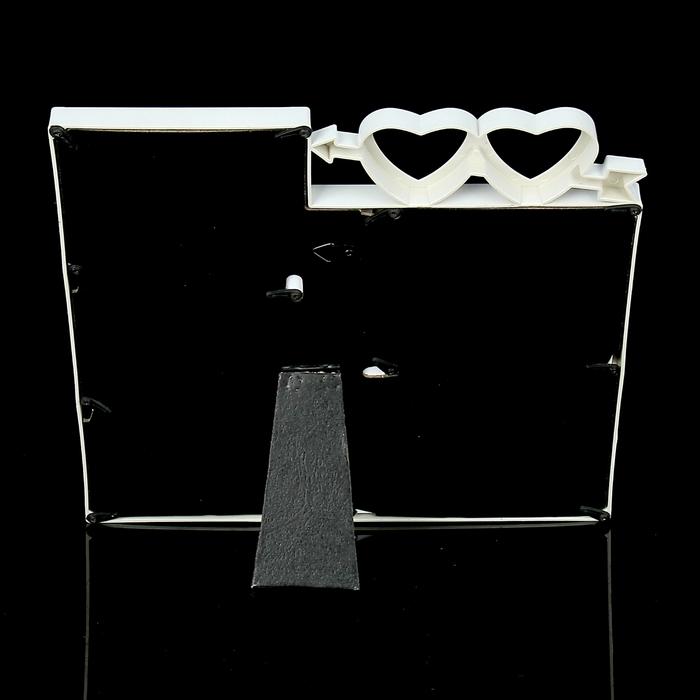 """Фоторамка на 4 фото 10х10 см, 10х15 см """"Два сердца"""" белая"""