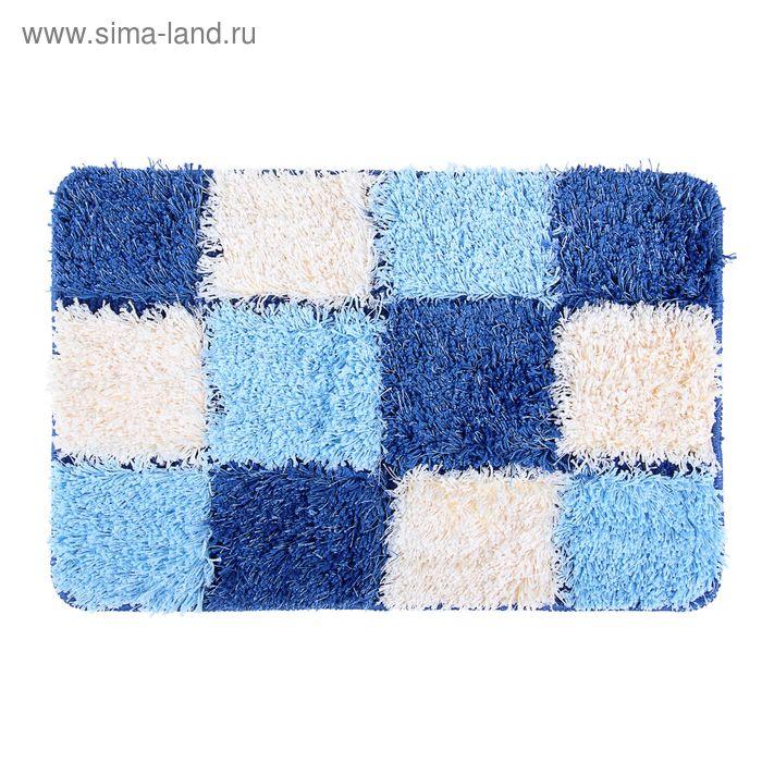 """Коврик для ванной """"Шахматы"""" 40х60 см, синий"""