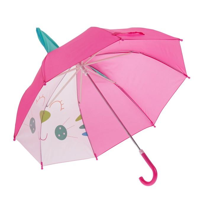"""Зонт детский """"Милый котик"""", с ушками, полуавтоматический, r=35см, цвет розовый"""