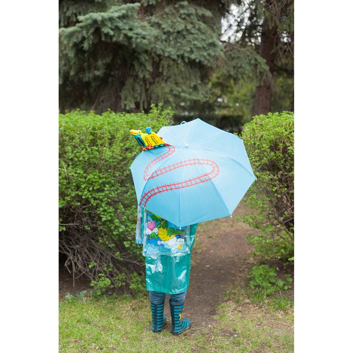 """Зонт детский механический """"Паровозик"""", r=35см, с объёмной фигурой, цвет голубой"""