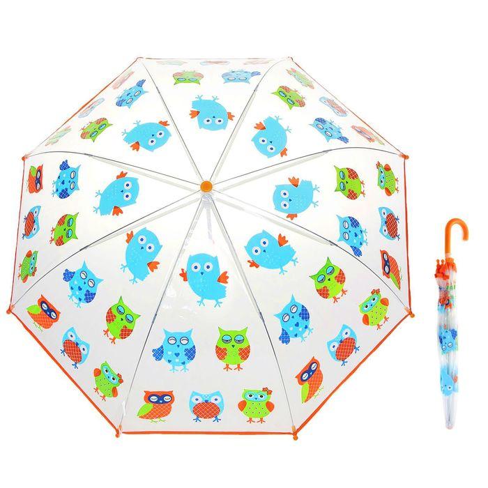 """Зонт детский """"Совушки"""", механический, r=38,5см, цвет оранжевый"""