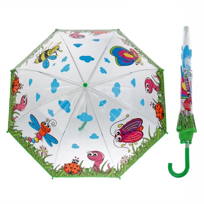 """Зонт детский полуавтоматический """"Лесная полянка """", r=38,5см, цвет зелёный"""