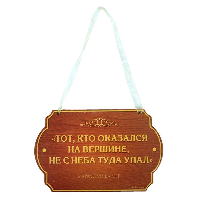"""Табличка на дверь """"Тот, кто оказался на вершине"""", 19 х 12 см"""