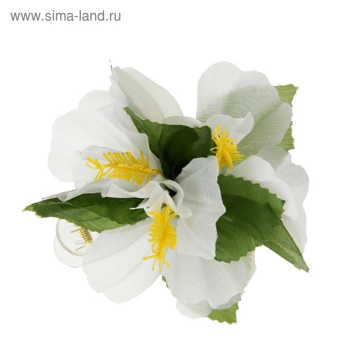 """Зажим """"Крокус"""", цвет белый"""