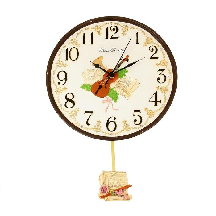 """Часы настенные интерьерные """"Скрипка и ноты"""" с маятником, d=29 см"""