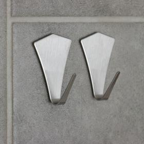 Набор крючков на липучке «Кристалл», 2 шт, металлические Ош