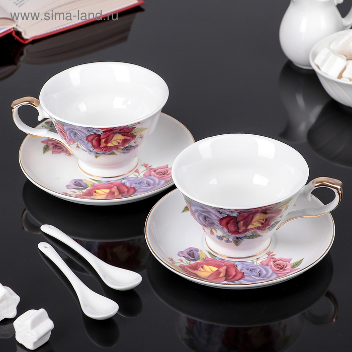 """Сервиз чайный """"Азиза"""", 6 предметов: 2 чашки 250 мл, 2 ложки, 2 блюдца"""