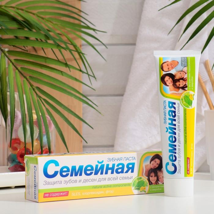 """Зубная паста """"Семейная"""" с экстрактами подорожника и зверобоя, 130 г - фото 106536348"""