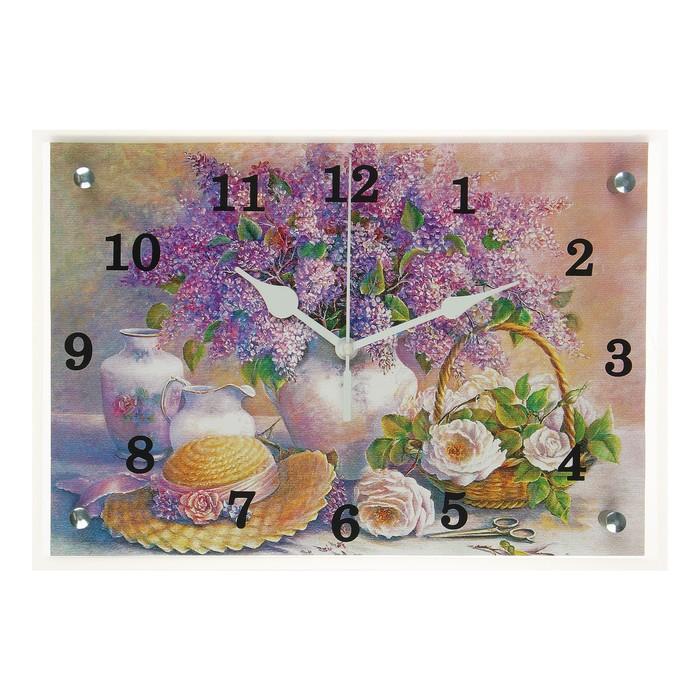 """Часы настенные прямоугольные """"Сирень в вазе"""", 25х35 см микс"""