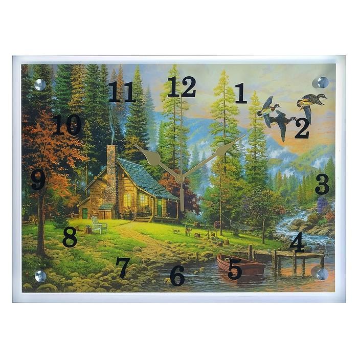 """Часы настенные прямоугольные """"Дом у воды"""", 25х35 см микс"""