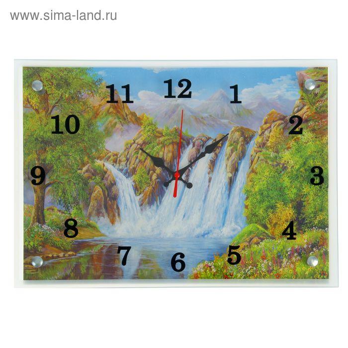 """Часы настенные прямоугольные """"Водопад"""", микс 25х35 см"""