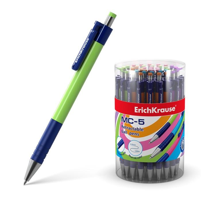 Ручка шариковая автоматическая MC-5, узел 0.7мм, чернила синие, резиновый упор, длина линии письма 1300м, микс