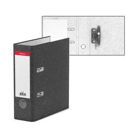 Папка-регистратор А5, 70 мм, BASIC, собранный, мраморный, серый, этикетка на корешке, картон 2 мм, вместимость 450 листов