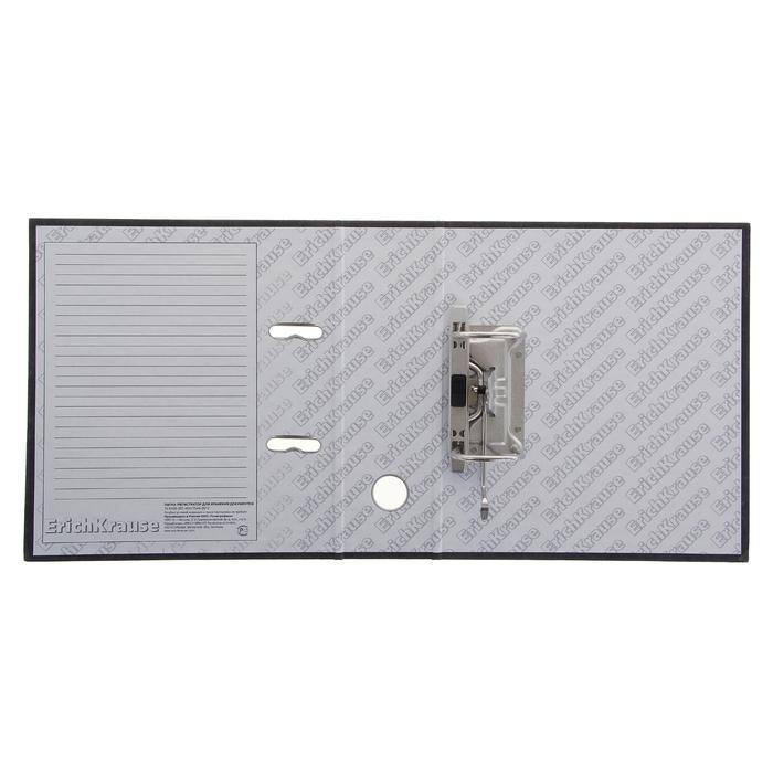 Папка-регистратор А5, 70 мм, BASIC, собранный, мраморный, серый, этикетка на корешке, картон 2 мм, вместимость 450 листов - фото 447542809