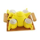 """Набор чайный """"Георгина"""": кружки 4 шт, чайник 600 мл, на подставке, цвет желтый"""