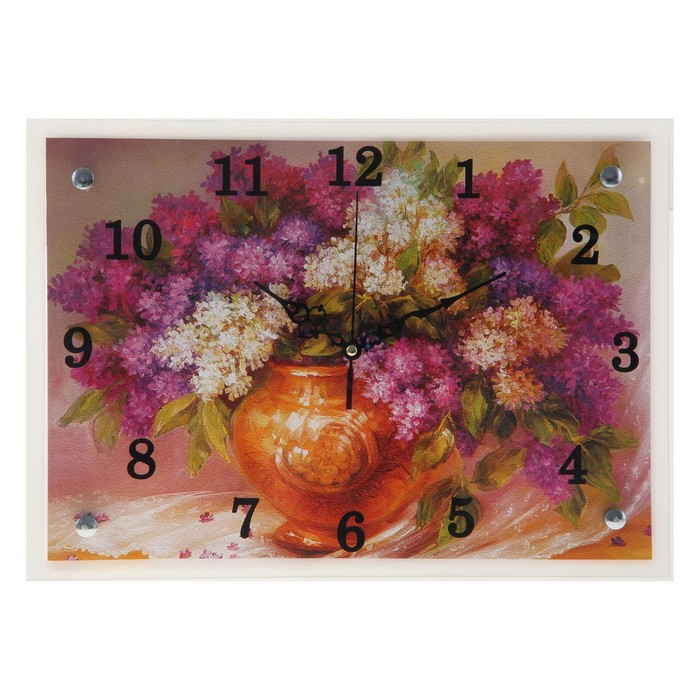 "Часы настенные прямоугольные ""Цветы"", 25х35 см микс"