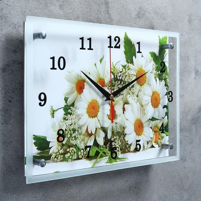 """Часы настенные прямоугольные """"Ромашки"""", 25х35 см микс"""