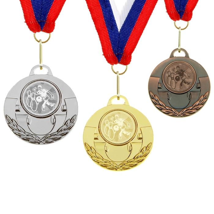 "Медаль тематическая 030 ""Боулинг"" серебро"