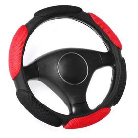 Braid on the steering wheel, Anatomical, 38 cm, black-red (M)
