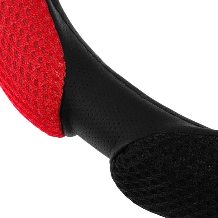 Оплётка на руль, Анатомическая, 38 см, чёрно-красный (M)