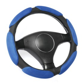 Braid on the steering wheel, Anatomical, 38 cm, blue-black (M)