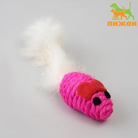 """Игрушка для кошек """"Мышь сизалевая малая"""" с меховым хвостом, 5,5 см, микс цветов"""