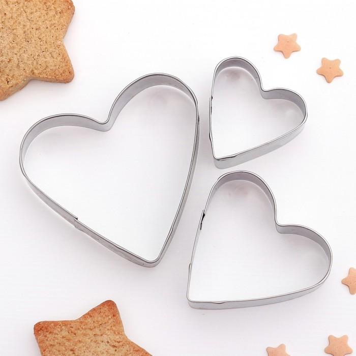 """Набор форм для вырезания печенья """"Сердечко"""", 3 шт"""