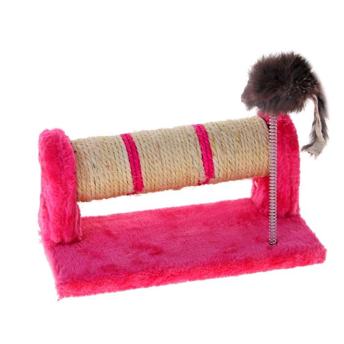 """Комплекс для кошек """"Когтеточка-валик из сизаля и мышь на пружине"""", 33 х 13 х 10 см, микс цветов"""