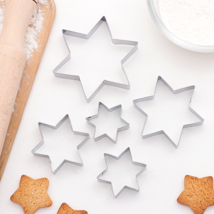 """Набор форм для вырезания печенья 8,5х1,5 см """"Звездочки"""", 5 шт"""