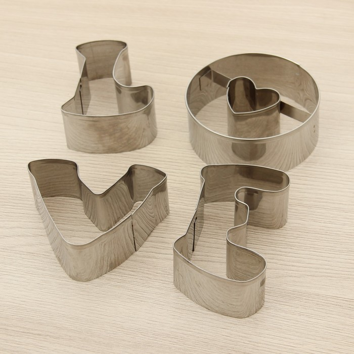"""Набор форм для вырезания печенья 10х10х1,5 см """"Любовь"""", 4 шт"""