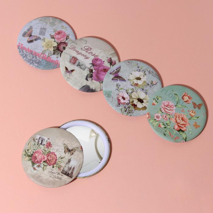 Зеркало компактное «Цветы», круглое, одностороннее, без увеличения, d=7,5см, цвет МИКС