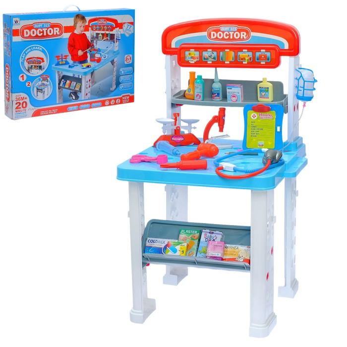 Игровой набор «Столик доктора», 2 варианта сборки, 16 предметов, высота 70 см - фото 1593355