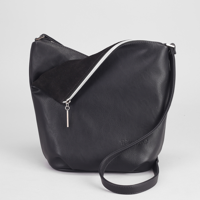 Сумка женская на молнии, 2 отделения, 1 наружный карман, чёрная
