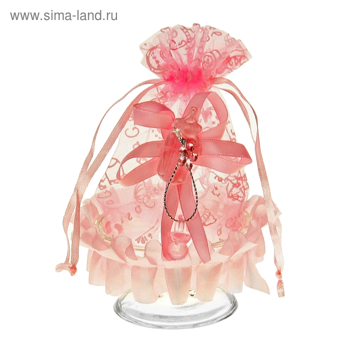 """Бонбоньерка """"Ваза"""" с бантиком, цвет розовый"""