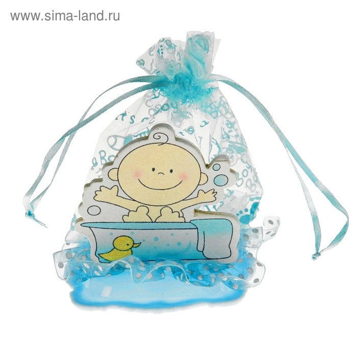 """Бонбоньерка """"Малыш в ванной"""", цвет голубой"""