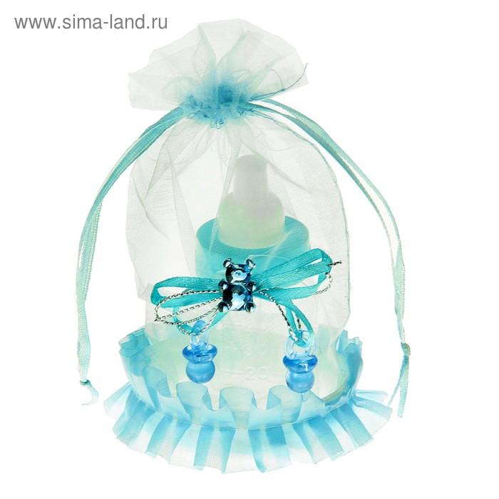 """Бонбоньерка """"Бутылочка"""" в упаковке цвет голубой"""
