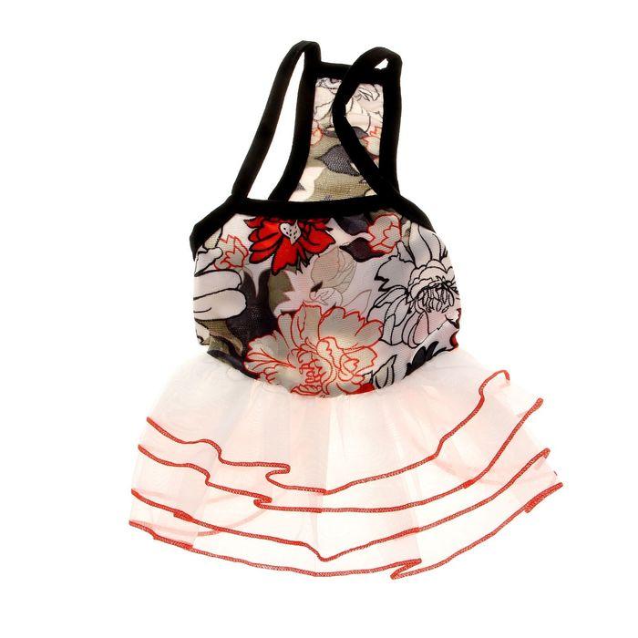 """Сарафан """"Красные цветы"""" с многослойной юбкой, размер XL (длина спинки - 31 см, объем груди - 40 см)"""