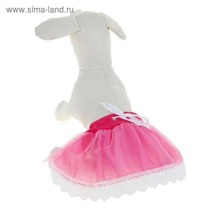 Юбка с кружевом, размер XL, розовая (длина - 19 см, обхват - 44 см)