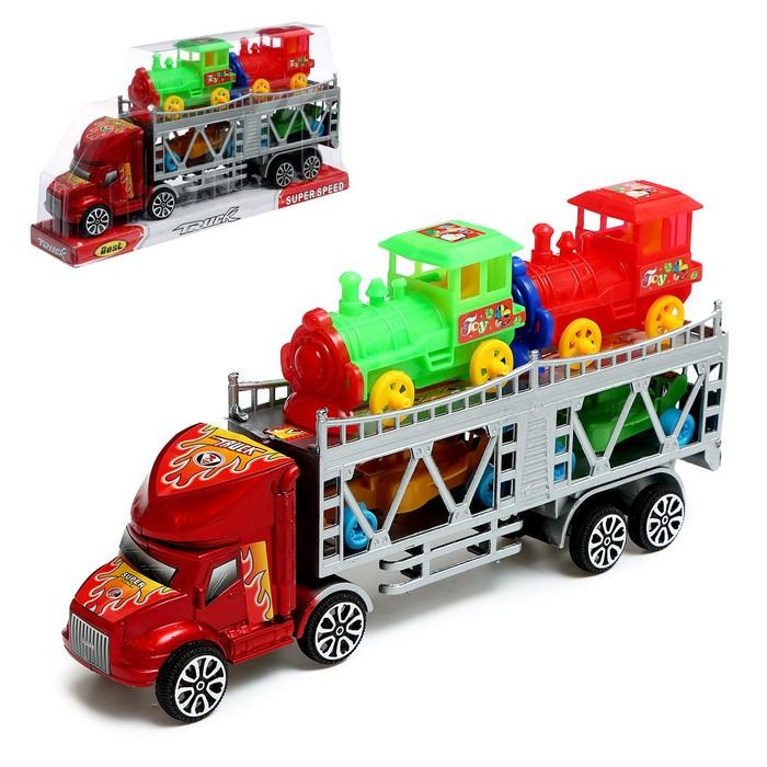 Грузовик инерционный «Автовоз», 2 машинки и 2 паровоза, цвета МИКС - фото 1022389