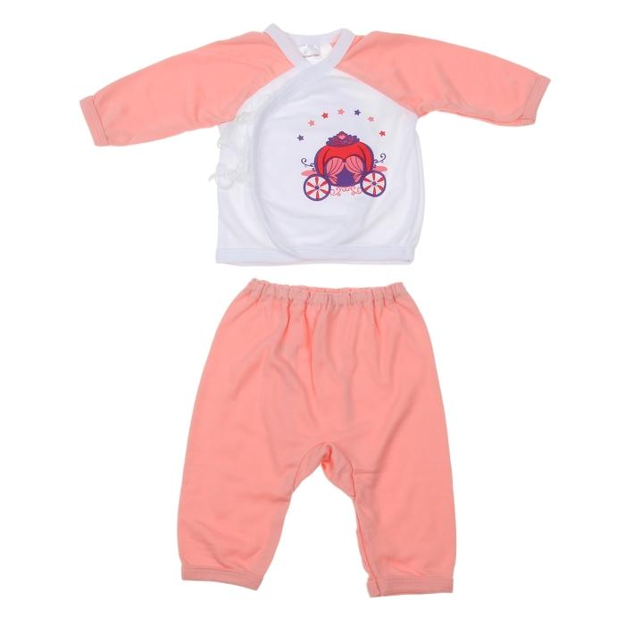 Костюм: кофточка длинный рукав/штанишки, 0-6 мес., 100% хлопок, цвет персиковый микс