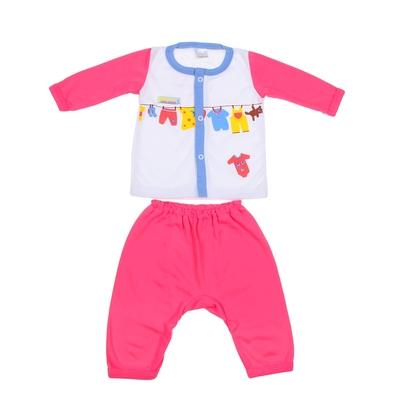 Комплект: кофточка длинный рукав на застежке/штанишки, 0-6 мес., 100% хлопок, цвет розовый микс