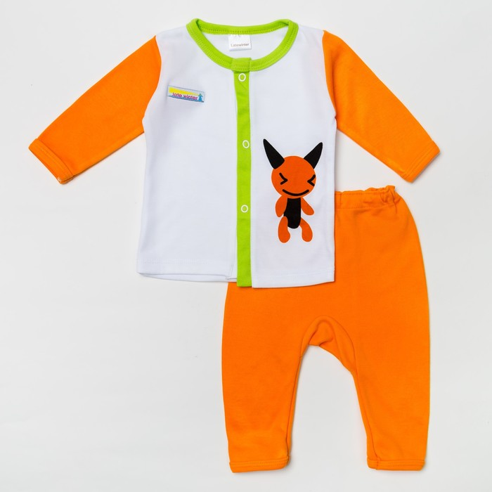Комплект: кофточка длинный рукав на застежке/штанишки, 12-18 мес., 100% хлопок, цвет оранжевый микс