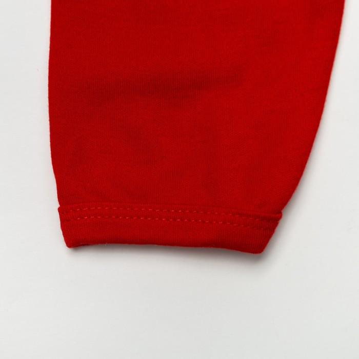 Комплект: кофточка длинный рукав на застежке/штанишки, 6-12 мес., 100% хлопок, цвет красный микс