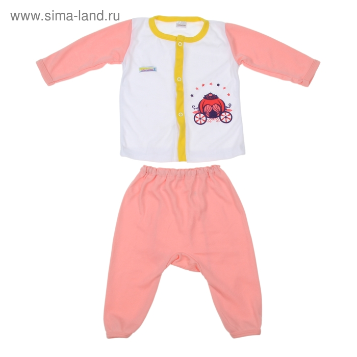 Комплект: кофточка длинный рукав на застежке/штанишки, 12-18 мес., 100% хлопок, цвет розовый микс
