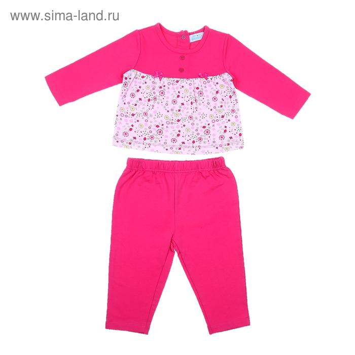 Комплект для девочки: кофта в цветочек с пуговицами, штанишки, рост 74-80 см (9-12 мес.) 9040NC1316