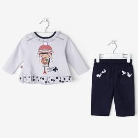 Комплект для девочки (кофта, штанишки), бело-синий, рост 62-68 см