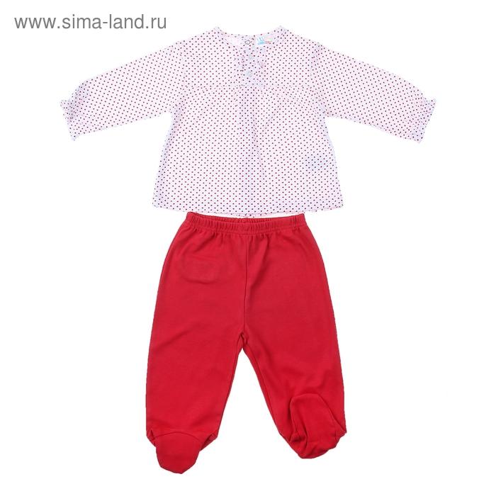 Комплект для девочки: кофта в красный горошек, штанишки, рост 68-74 см (3-6 мес.), цвет микс 9002NC1048