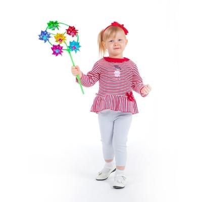 Комплект для девочки: кофта с баской в полоску, легинсы, рост 80-86 см (12-18 мес.), цвет микс 9001IC1727